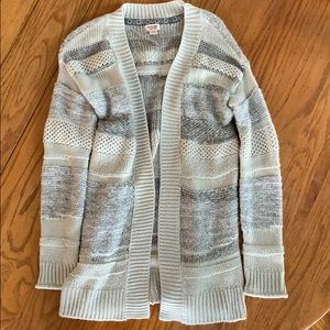 Long grey knit cardigan